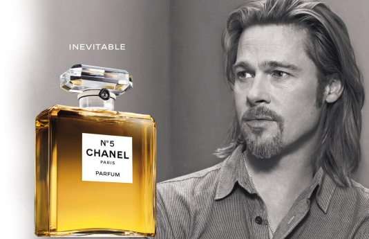 "Brad Pitt in a ""Chanel No. 5"" advertisement. Note that this is a ""parfum"" which means it is the most intense type of fragrance."
