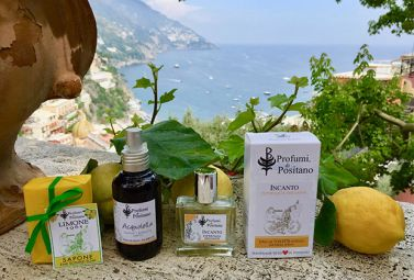 Products and a view of the Gulf of Salerno.